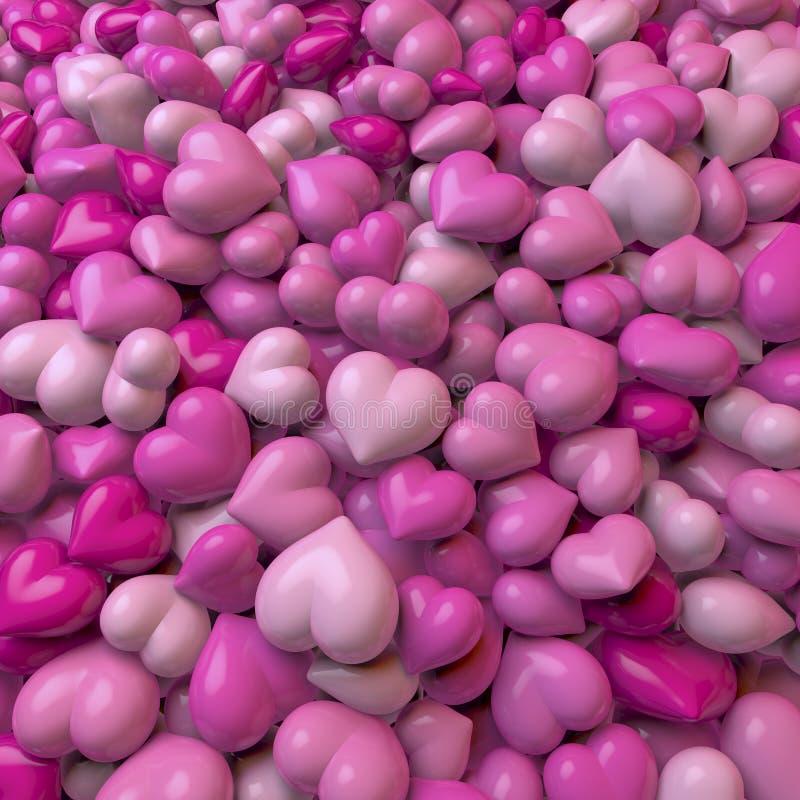 Corazones rosados stock de ilustración
