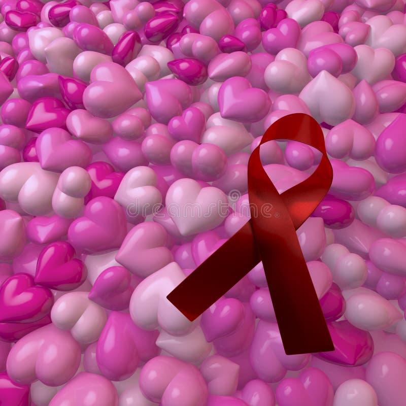 Corazones rosados con el arco del VIH/de las ayudas ilustración del vector