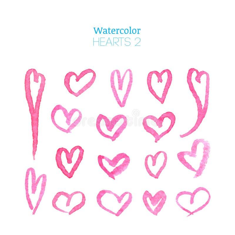 Corazones rosados de la acuarela ilustración del vector