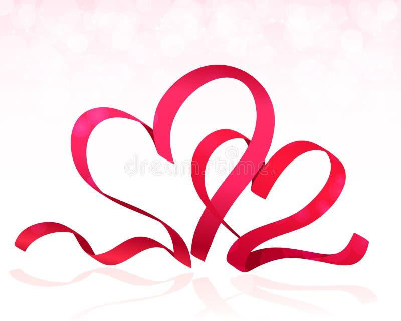 Corazones rosados de la cinta Vector del fondo del día de tarjetas del día de San Valentín libre illustration