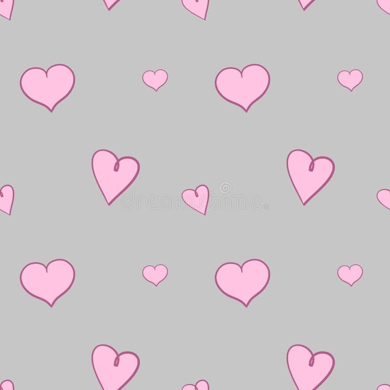 Corazones rosas claros en modelo inconsútil del fondo gris stock de ilustración