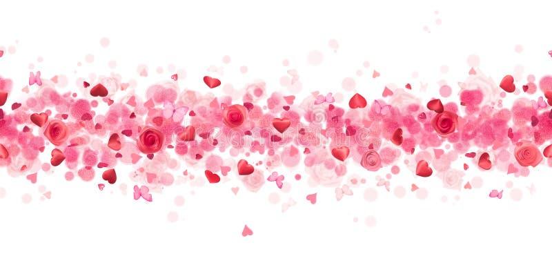 Corazones, rosas y mariposas repetibles fotografía de archivo