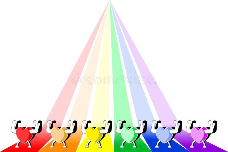 Corazones sanos coloridos que muestran fuerza en fondo rayado del arco iris Colores de LGBT libre illustration