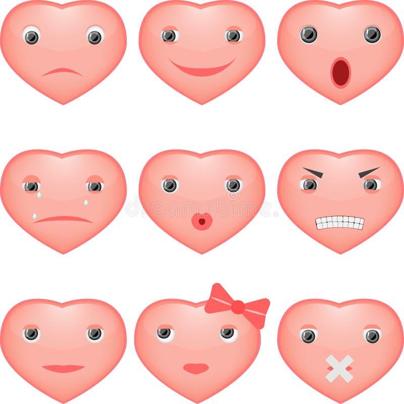 Corazones sonrientes ilustración del vector