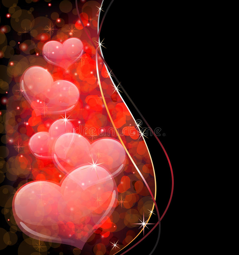 Corazones transparentes. Postal del día de tarjetas del día de San Valentín libre illustration