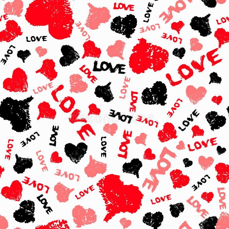Corazones Valentine Background con palabra pintada del amor libre illustration