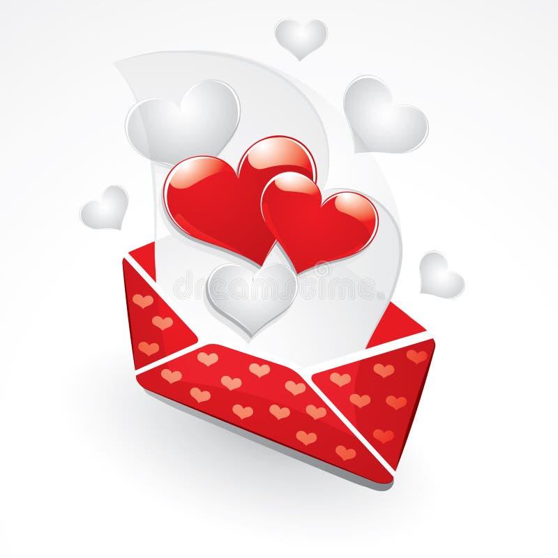 Corazones y carta de amor stock de ilustración