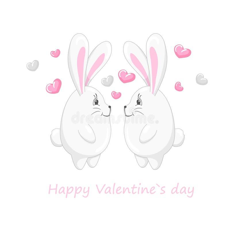 Corazones y conejos lindos 1 libre illustration