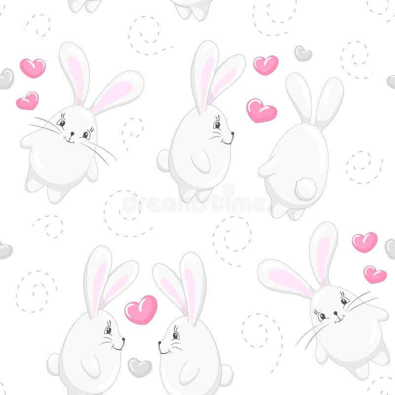 Corazones y conejos lindos 3 stock de ilustración