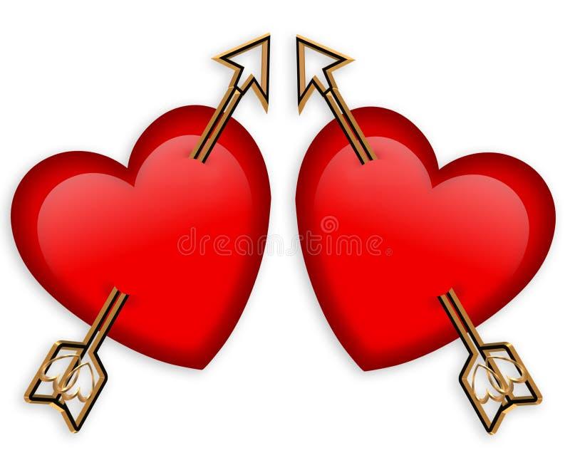 Corazones y flechas de la tarjeta del día de San Valentín gráficos stock de ilustración