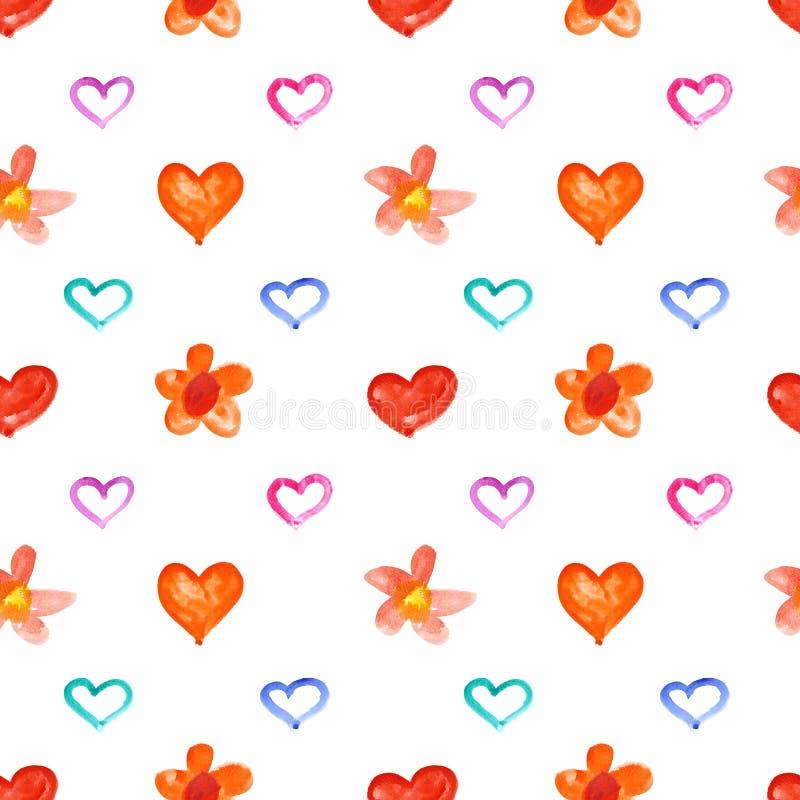 Corazones y flores de la acuarela ilustración del vector
