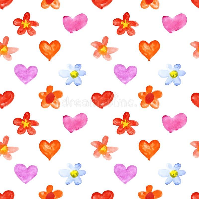 Corazones y flores de la acuarela stock de ilustración
