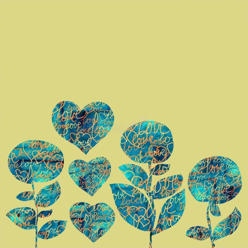 Corazones y flores del collage en un fondo amarillo con palabras del amor stock de ilustración