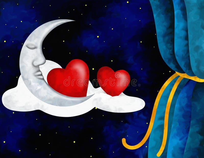 Corazones y luna ilustración del vector