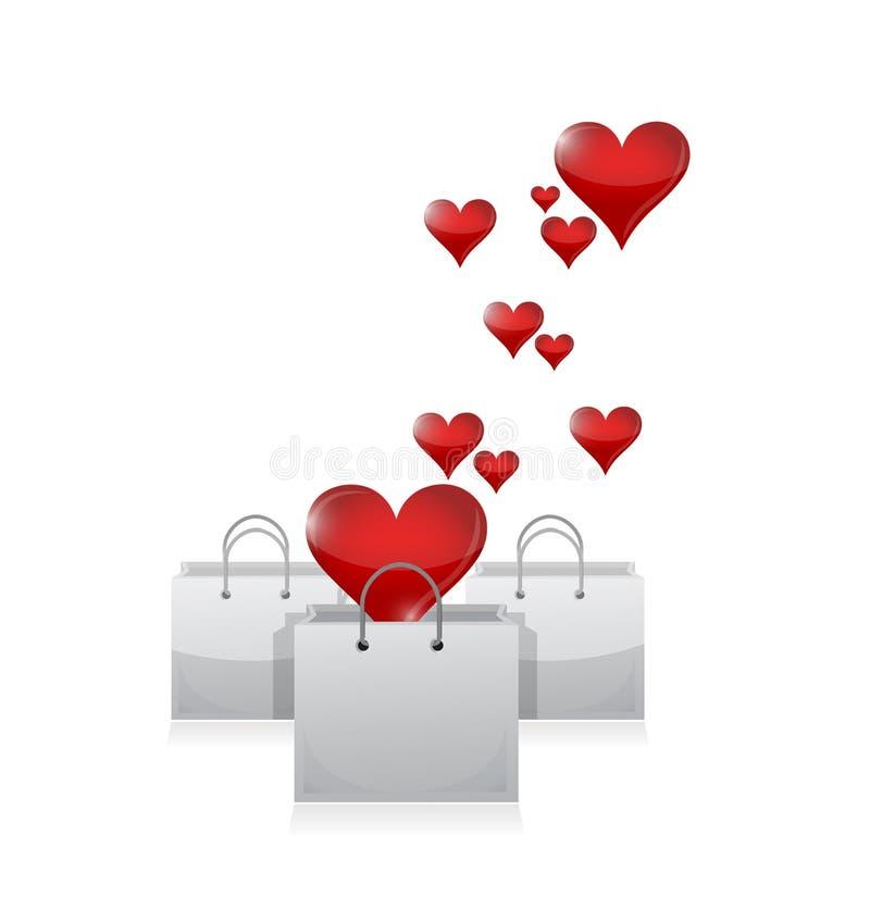 Corazones y panieres del amor. diseño del ejemplo libre illustration