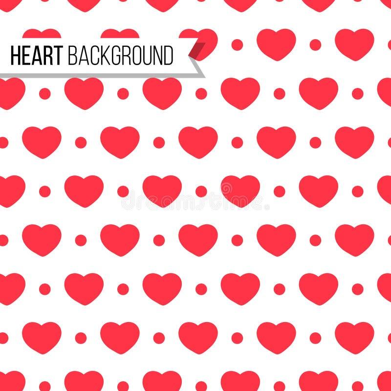 Corazones y puntos del día del ` s de la tarjeta del día de San Valentín en color rojo brillante en el fondo blanco, modelo incon libre illustration