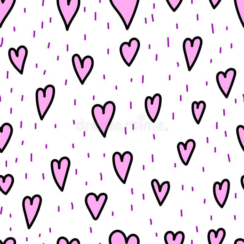 Corazones y rociadas del garabato del día del ` s de la tarjeta del día de San Valentín en el fondo blanco, modelo inconsútil Eje stock de ilustración