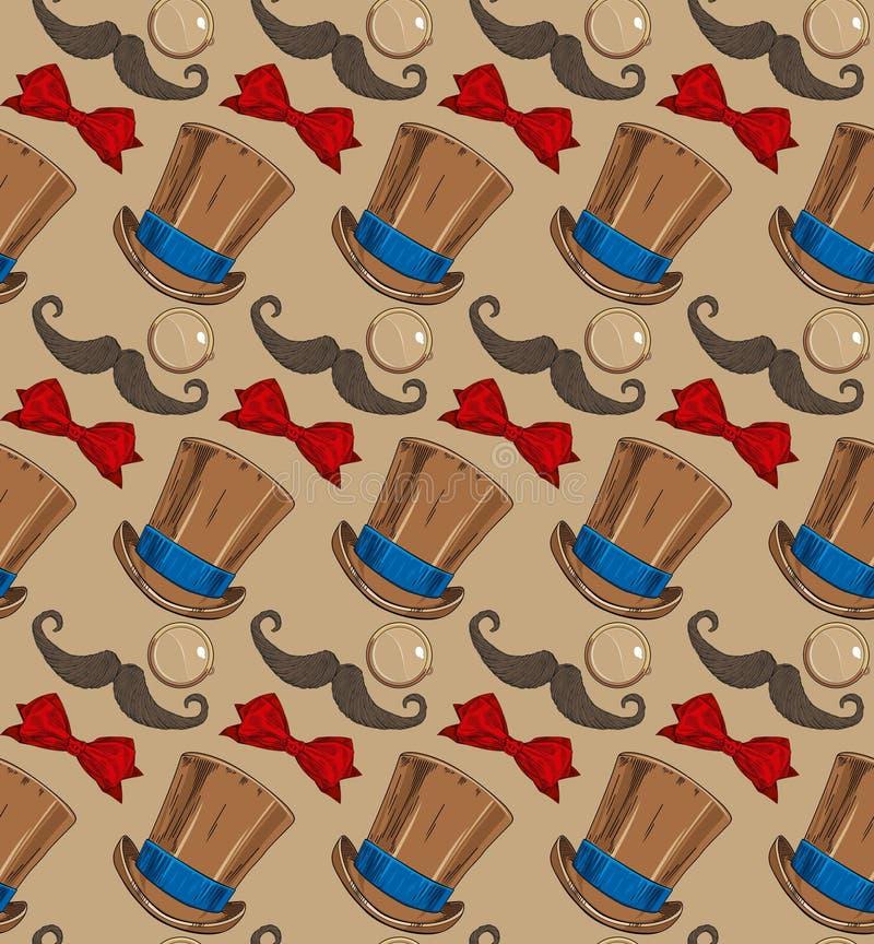 Corbata de lazo del sombrero del bigote del monóculo ilustración del vector