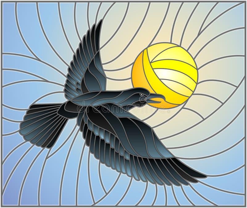 Corbeau d'illustration en verre souillé sur le fond du ciel, et du soleil illustration de vecteur