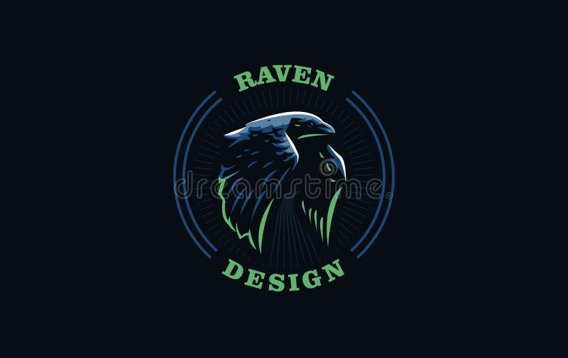 Corbeau volant dans le style minimaliste illustration stock