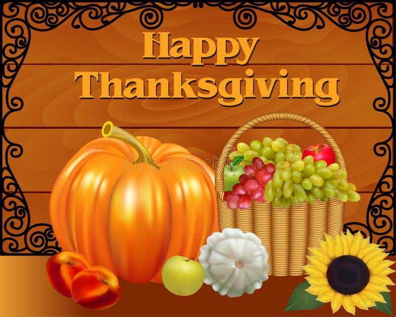 Corbeille de fruits et potiron de carte le jour de thanksgiving illustration stock