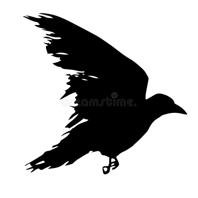 Raven flying black sign vector illustration