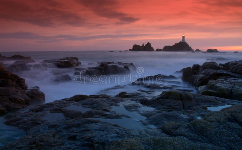 Corbiere Lighthouse in Jersey royalty free stock images
