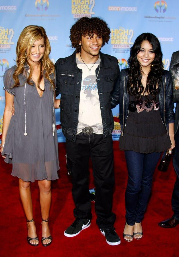 Corbin Bleu, Vanessa Hudgens en Ashley Tisdale stock foto