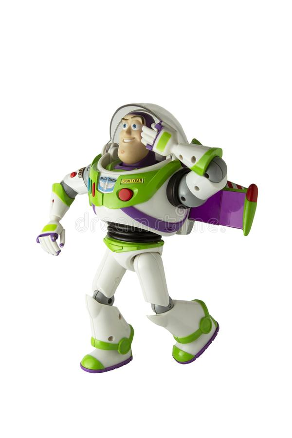 Corby, U.K, March 20, 2019: Buzz Lightyear robot toy character form Toy Story animation film. Isolated popular toy for kids. Corby, U.K, March 20, 2019:: Buzz stock photo
