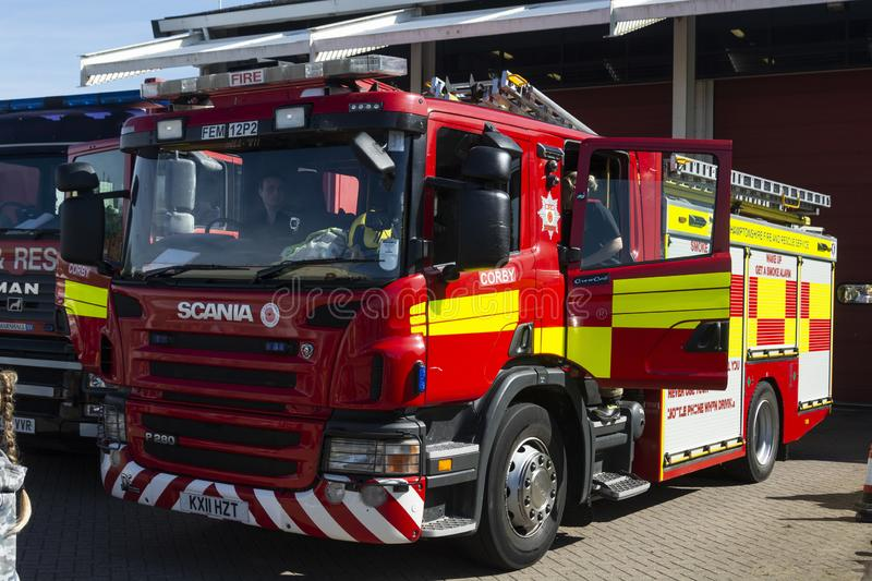Corby, U.K. September 14, 2019 - British fire engine, fire station in Corby, Northamptonshire royalty free stock images