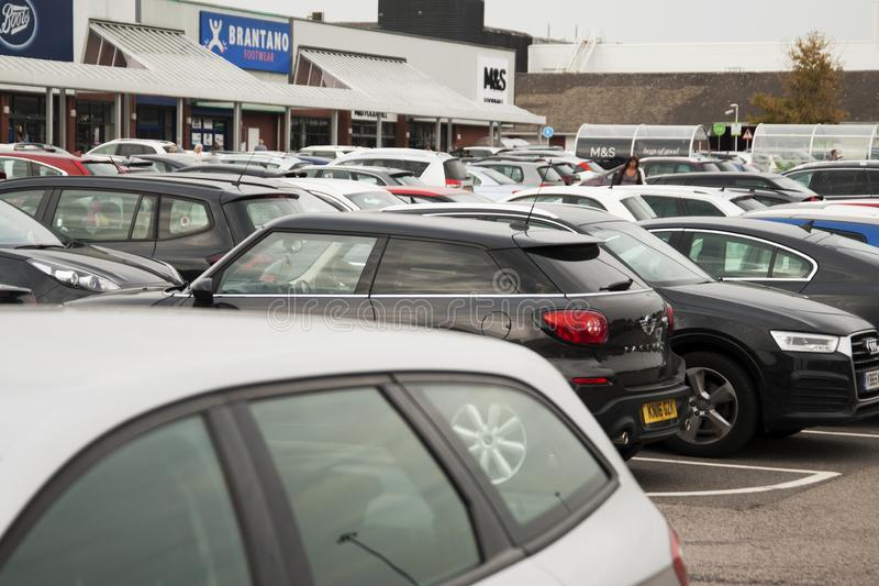 Corby, United Kingdom - September, 01, 2018: Lots of cars parking in the city. busy day, full parking, outdoor. stock images