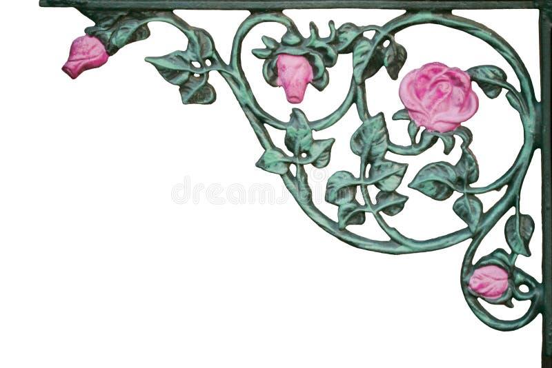 Corchete color de rosa de la vid del viejo color de rosa del hierro labrado ilustración del vector