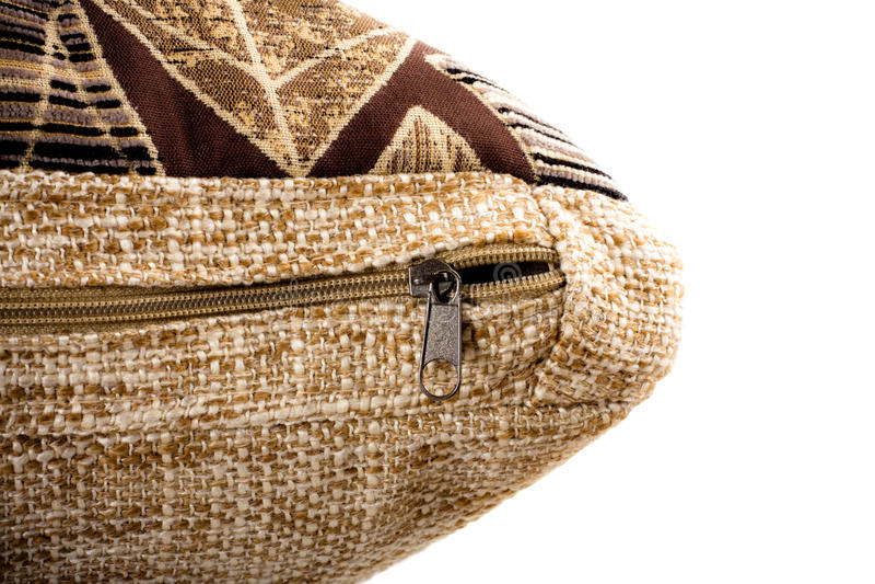 Corchete de la cremallera en la almohadilla decorativa imágenes de archivo libres de regalías
