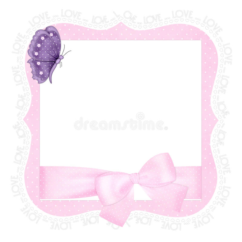 Corchete rosado del amor con la mariposa púrpura stock de ilustración