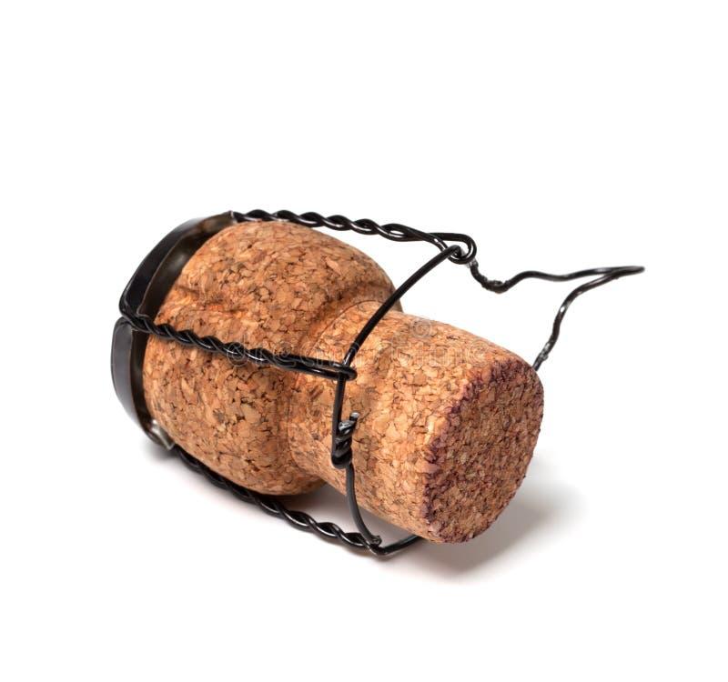 Corcho del vino de Champán en el fondo blanco imágenes de archivo libres de regalías
