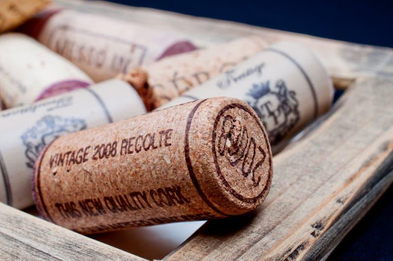 Corchos del vino en el marco foto de archivo libre de regalías