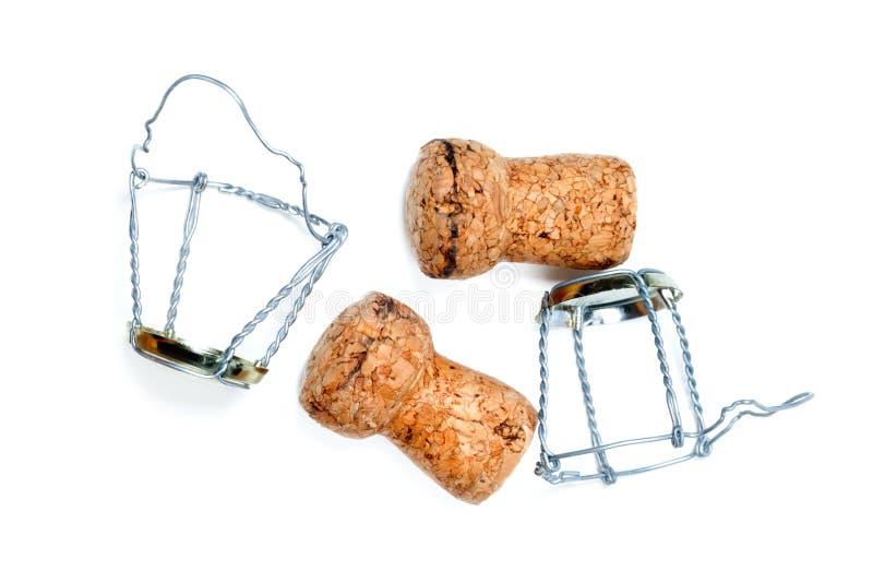 Corchos del vino y de los muselets del champán fotografía de archivo libre de regalías