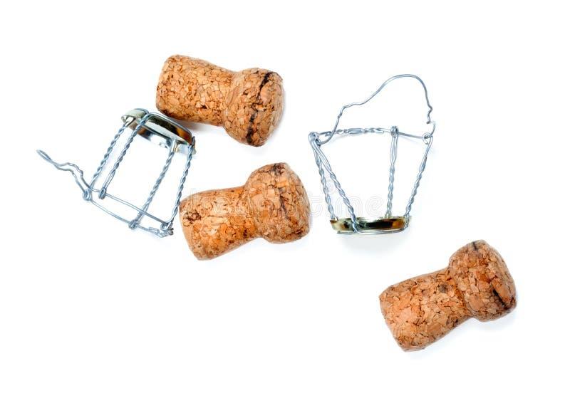 Corchos del vino y de los muselets del champán imagenes de archivo