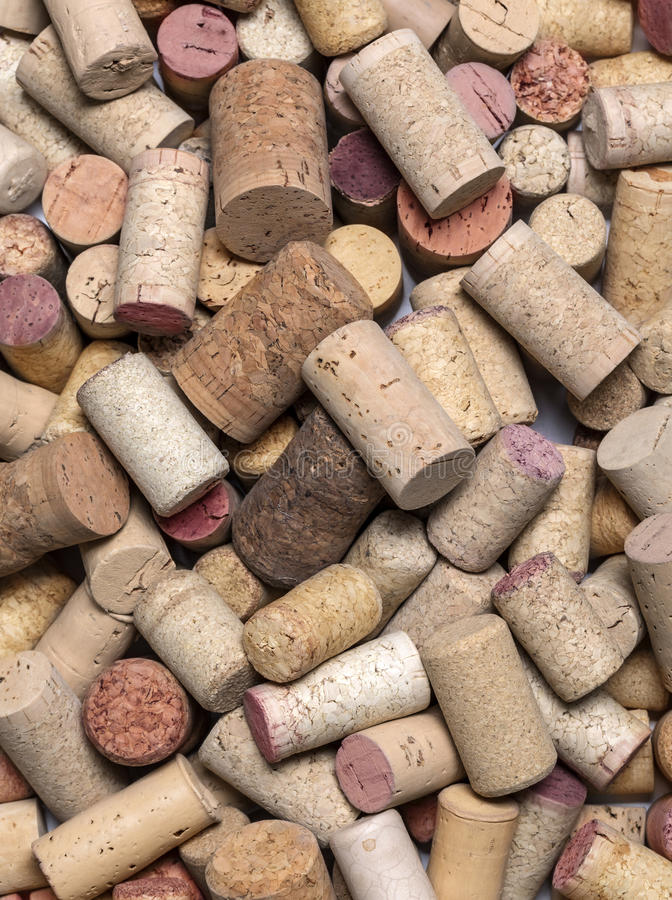 Corchos usados del vino cerca para arriba imagen de archivo