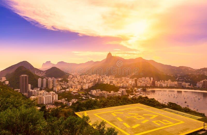 Corcovado and Botafogo in Rio de Janeiro. Brazil stock photo