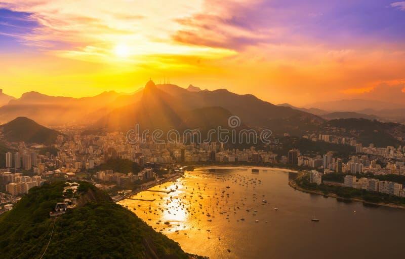 Corcovado and Botafogo in Rio de Janeiro. Brazil. Sunset view of Corcovado and Botafogo in Rio de Janeiro. Brazil royalty free stock photo