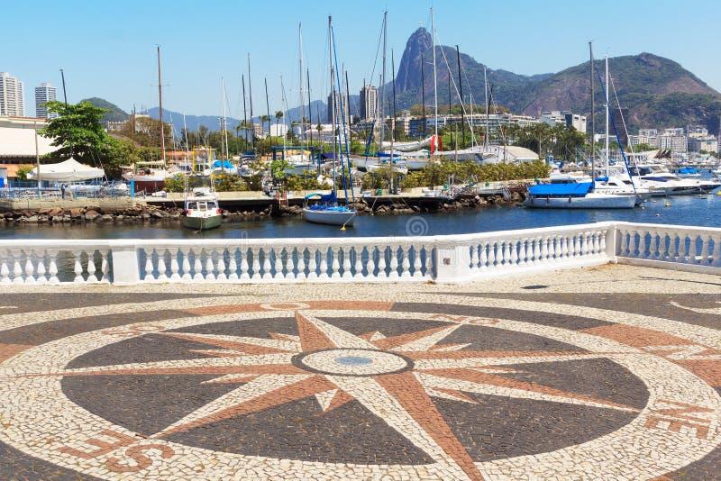 Corcovado Christ the Redeemer Guanabara bay, Rio de Janeiro, Bra. Corcovado Christ the Redeemer Guanabara bay boats yacht compass, Urca, Rio de Janeiro, Brazil stock image