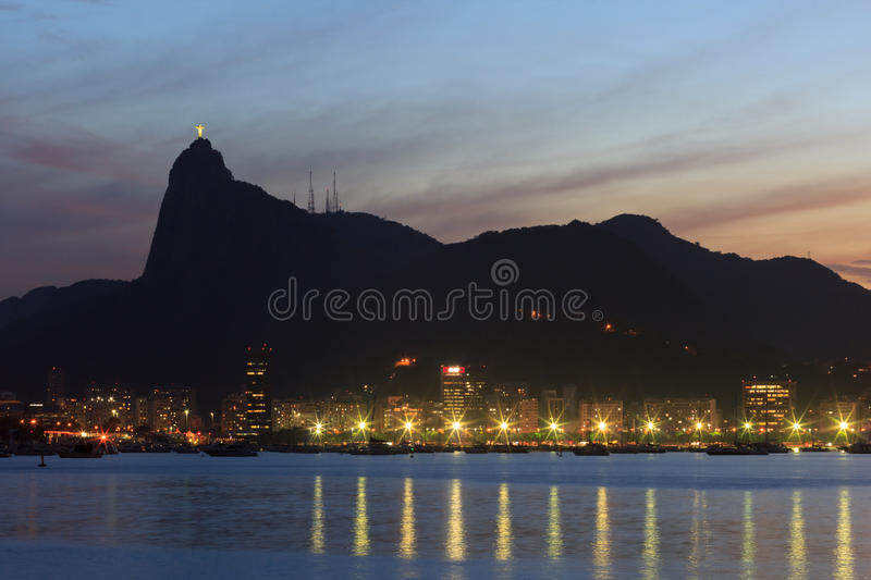 Corcovado Christ The Redeemer sunset night Rio de Janeiro stock photo