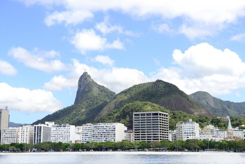 Corcovado mountain in Rio de Janeiro royalty free stock photo