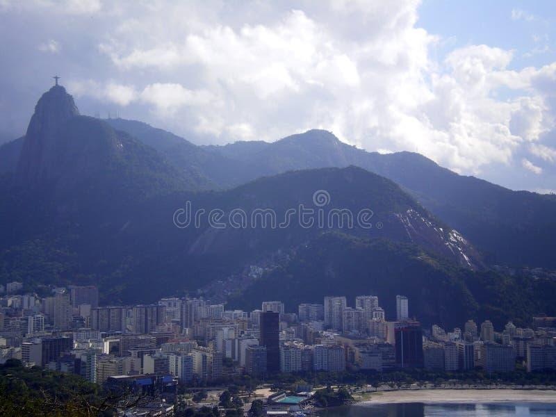 Corcovado Rio de Janeiro. Famous Corcovado peak rising behind the city of Rio de Janeiro, Brazil stock photos