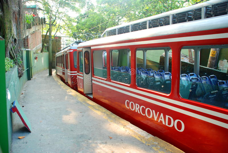 Corcovado train. Rio de Janeiro, Brazil. The Corcovado Train (Portuguese: Trem do Corcovado) is a rack railway in Rio de Janeiro in Brazil, from Cosme Velho to royalty free stock photos