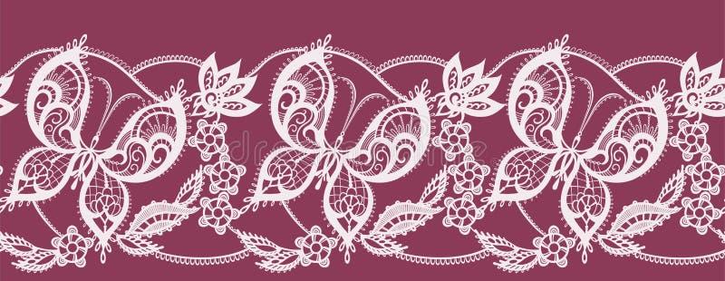 Cordón abstracto de la cinta con las flores y las mariposas ilustración del vector
