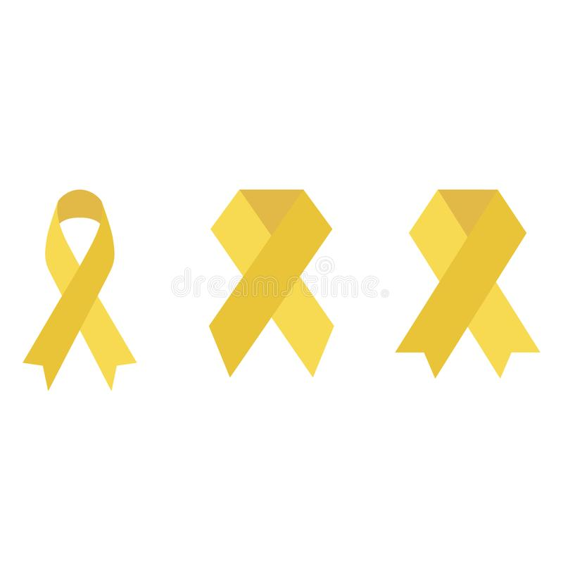 Cordón amarillo del garabato que conmemora día internacional del cáncer de la niñez ilustración del vector