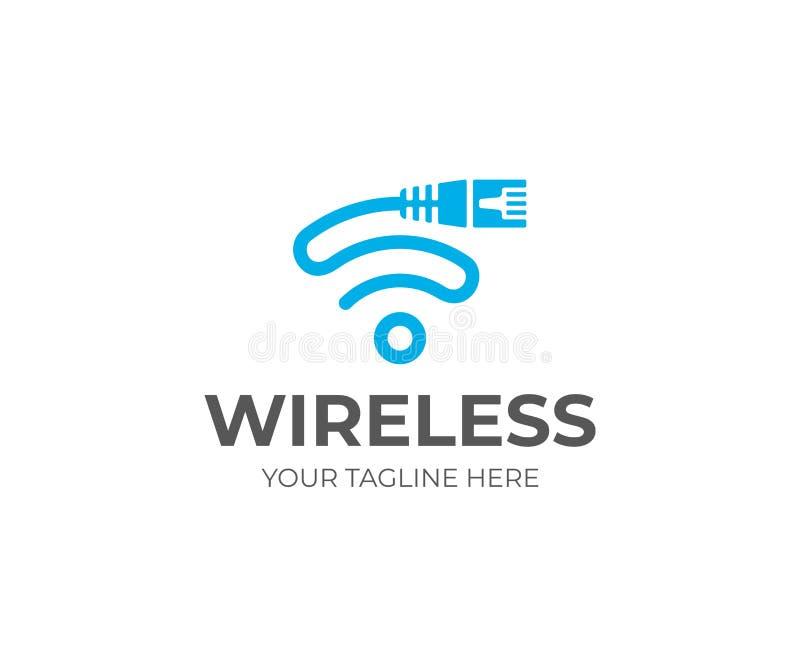 Cordón de Ethernet y plantilla del logotipo de la muestra del wifi El cable de la red y el vector del símbolo de los wi fi diseña ilustración del vector