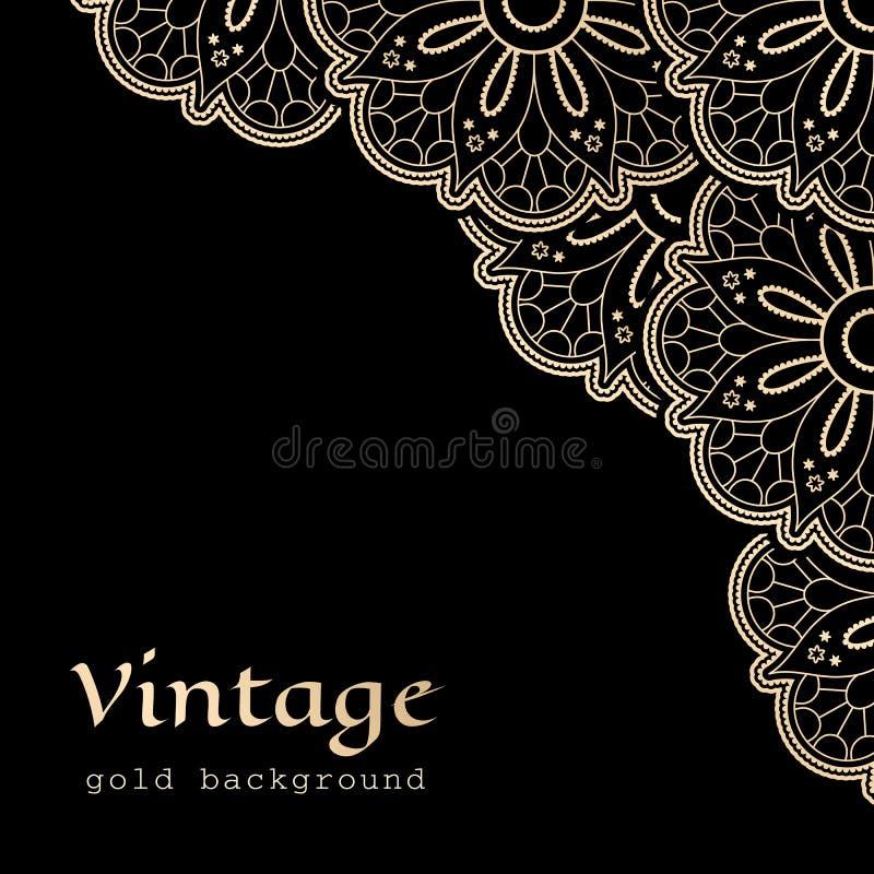 Cordón de la esquina del oro del vintage ilustración del vector